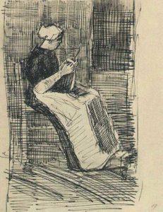 Scheveningen Woman Knitting Vincent Van Gogh 1881