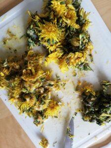 Découpage fleurs de pissenlit- miel de pissenlit